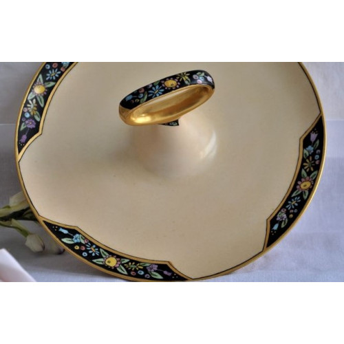 Hand painted Art Deco Handled Serving Dish