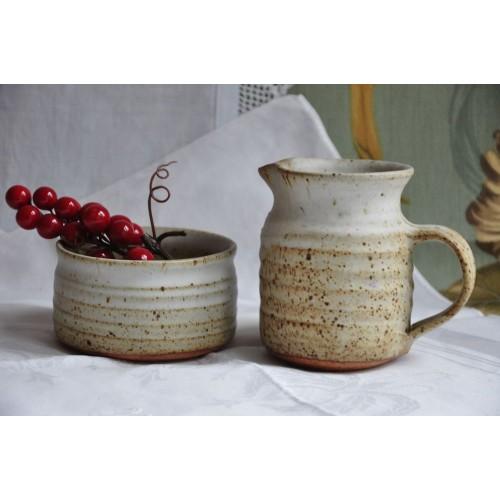 Signed Pottery Sugar Dish And Creamer Set
