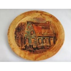 Assiette décorative murale en poterie d'art par Hubert du Roscoat
