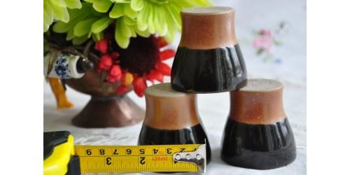 Vintage Sial Pottery Dark Brown Shooters