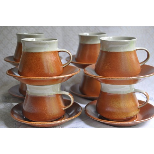 Vintage Sial Oval Stoneware Cups and Saucers
