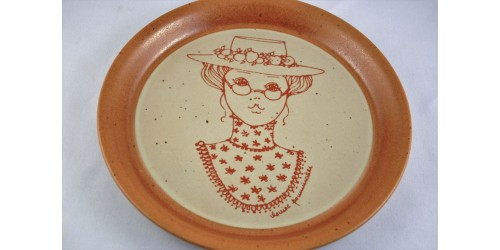 Large Sial Stoneware Decorative Plate with Bird Motif