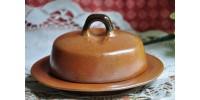 Beurrier Sial en grès bicolore avec couvercle
