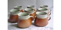 Tasses en grès marquées SIAL vendues par paire