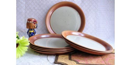 Paires de grandes assiettes à dîner SIAL en grès