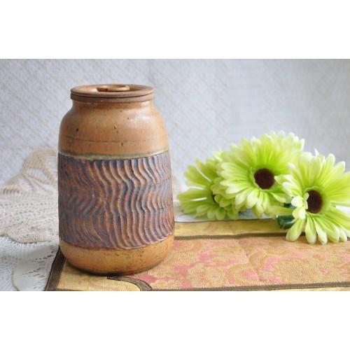Mid-century Lidded Signed Pottery Stoneware