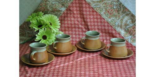 Sial Oval Celadon Green Cups and Saucers
