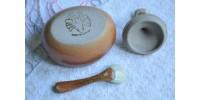 Moutardier vintage en grès SIAL décor blanc cassé