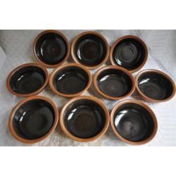 Bols Sial en grès brun-noir et rouille