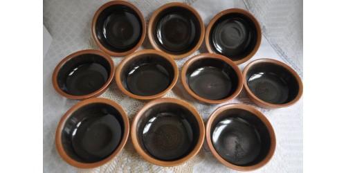Bols ronds Sial en grès brun chocolat et rouille