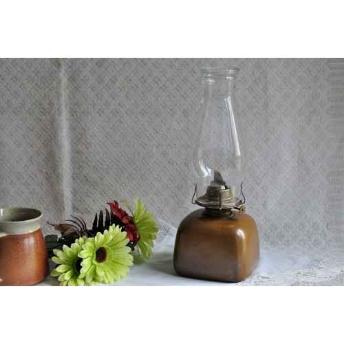 Sial Stoneware Square Collectible Oil Lamp