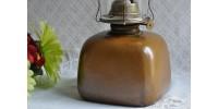 Rare lampe à huile carrée en grès Sial