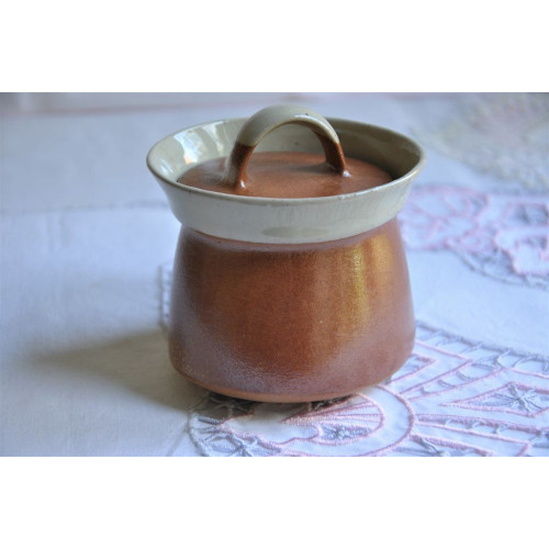 Sial Stoneware Cream and Rust Lidded Sugar Pot