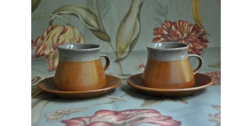 Tasses à thé/café en grès SIAL gris et rouille