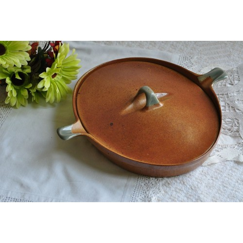 Sial Pottery Shallow Oval Lidded Casserole