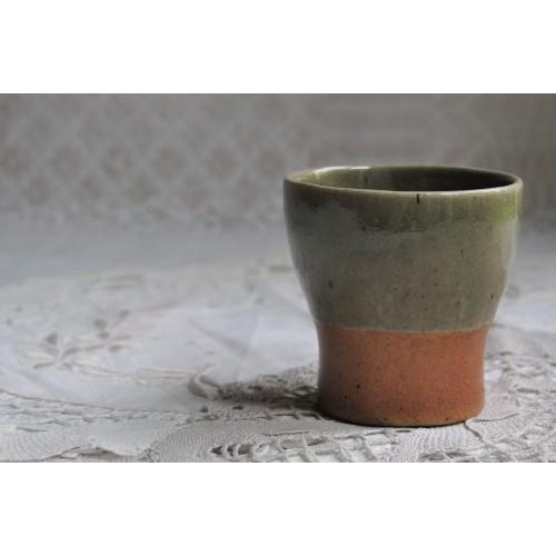 Rare Sial Oval Pottery Celadon Green Tumbler