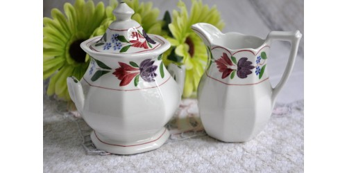 Adams Old Colonial Ironstone Cream & Sugar Set