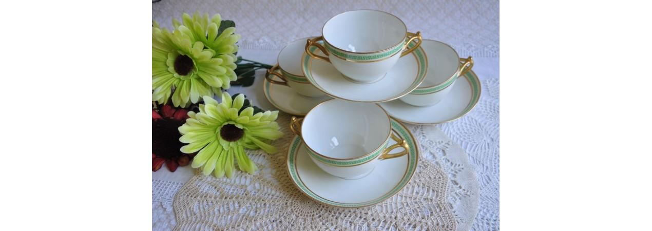 Limoges Art Deco Soup Bowls