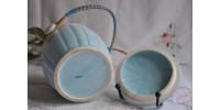 Pot à biscuits en porcelaine bleue avec couvercle