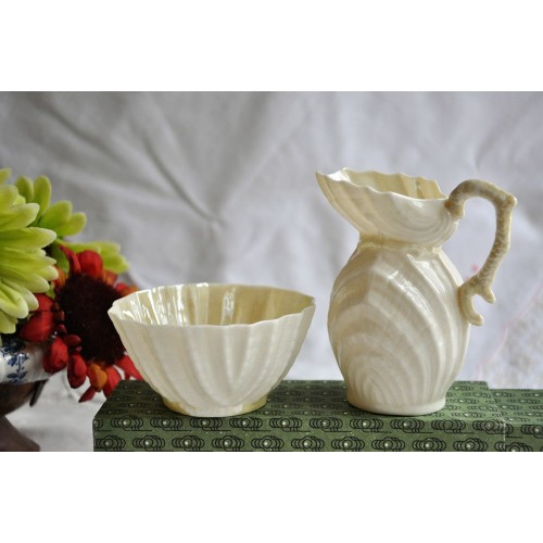 Belleek Ireland Old Sugar and Creamer Set