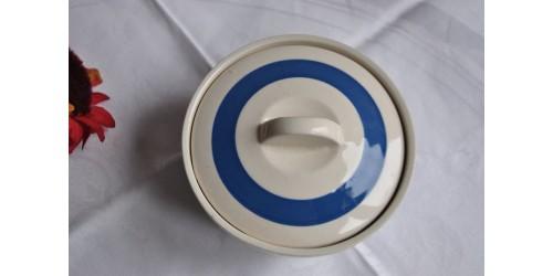 Pot couvert Chef Ware bleu et blanc vintage