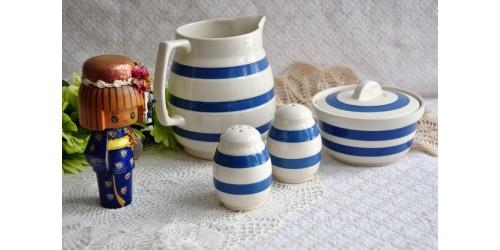 Vaisselle Chef Ware à bandes bleues et blanches