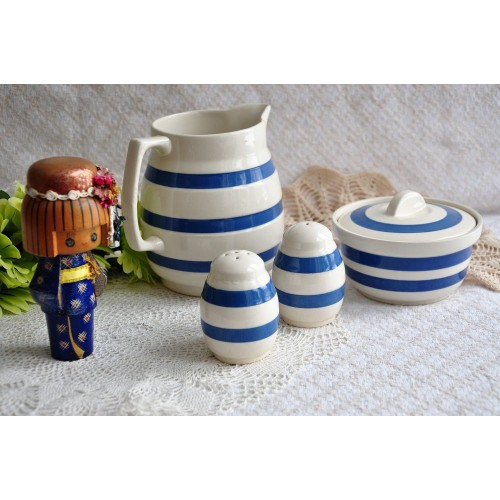 Chef Ware Blue White Striped English Earthenware