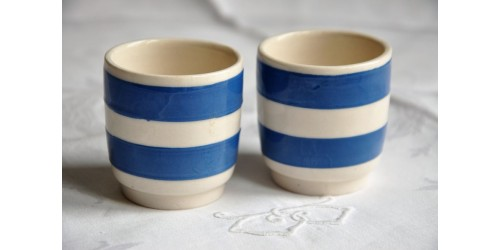 Chef Ware Blue White Striped Egg Cups