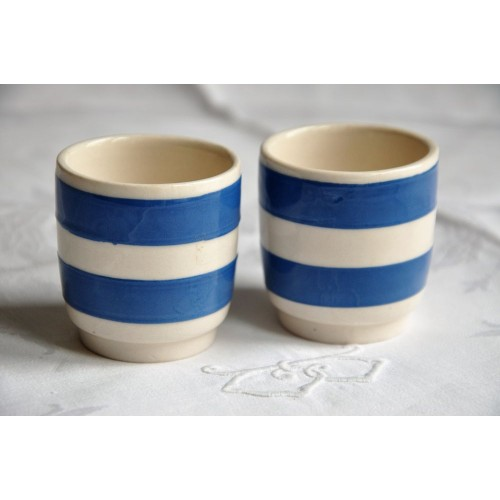 Coquetiers Chef Ware rayés bleus et blancs