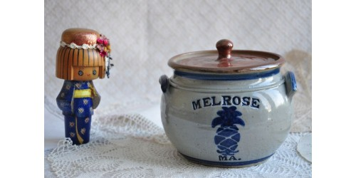 Handmade Westerwald Cobalt Blue and Grey Pot