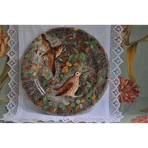 French Gien Plate with Woodcocks Decor