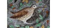 Assiette en faïence de Gien à décor d'oiseaux