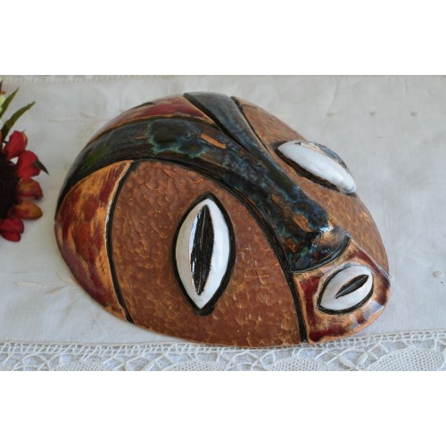 Vintage Clay African Tribal Polychrome Mask