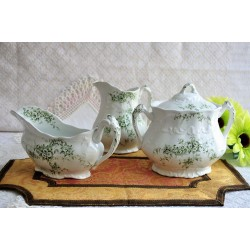 Green Floral Décor Transferware Serving Dishes