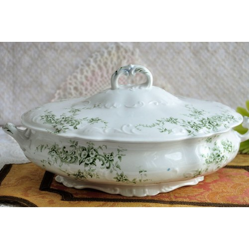Old Green Floral Décor Transferware Serving Dish