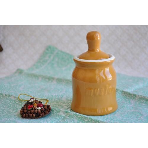 Vintage Hall Dark Yellow Ceramic Mustard Pot