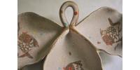 Plat de service 3 sections en céramique d'art italienne