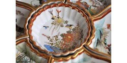 Plat de service japonais Satsuma en porcelaine