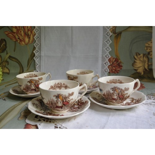 The Old Mill Tea Cup Sets by Johnson Bros