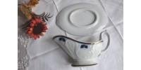 Saucière et sous-assiette bleu et blanc 19e