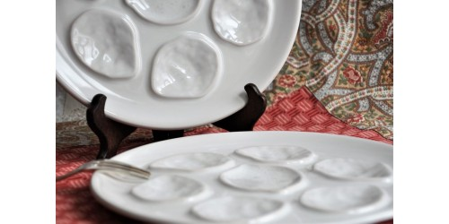 French Quality Earthenware Oyster Plates