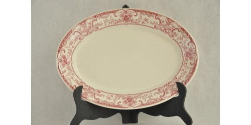 Plat ovale en faience hôtelière à décor rose