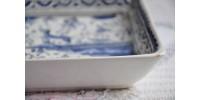 Plats de service en faïence bleu et blanc motif 17e