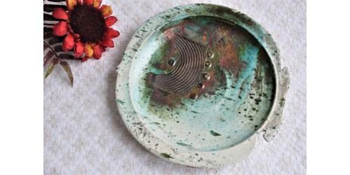Modernist Signed Art Pottery Raku Wall Plate
