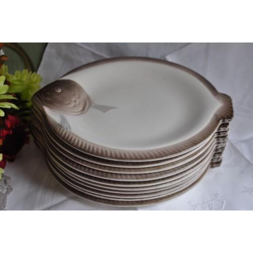 Set of French 1930s Longwy Fish Plates