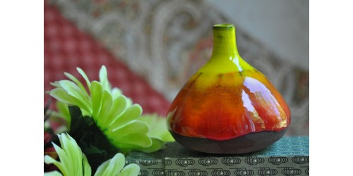 Handcrafted Signed Multicolour Pottery Vase