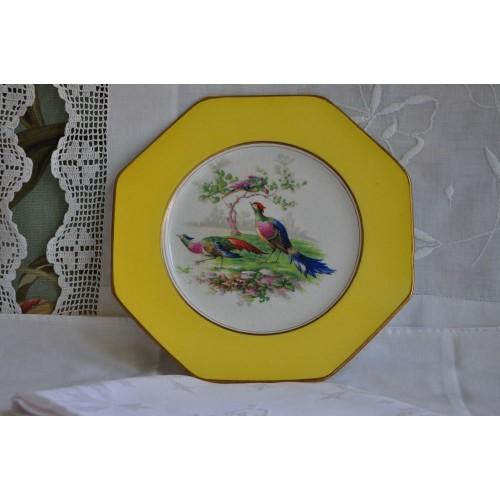 Assiette Wedgwood octogonale décor d'oiseaux
