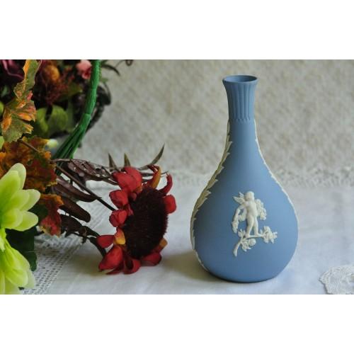Wedgwood Jasperware Cherubs Blue Bud Vase