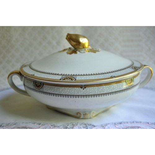 Covered 1930's Gilded Vegetable Dish