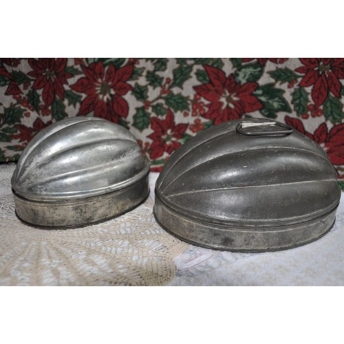 Antique English Melon Shape Tin Pudding Molds